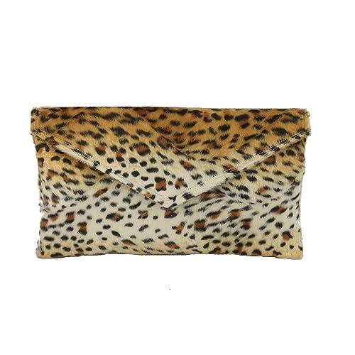 LONI Women s Fur Envelope Animal Print Clutch Bag 677fe75f8f24e