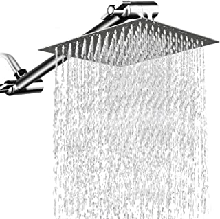12 Inches Square Rain Showerhead with 11 Inches Adjustable Extension Arm,Large Stainless Steel High Pressure Shower Head,Ultra Thin Rainfall Bath Shower with Silicone Nozzle Easy to Clean and Install