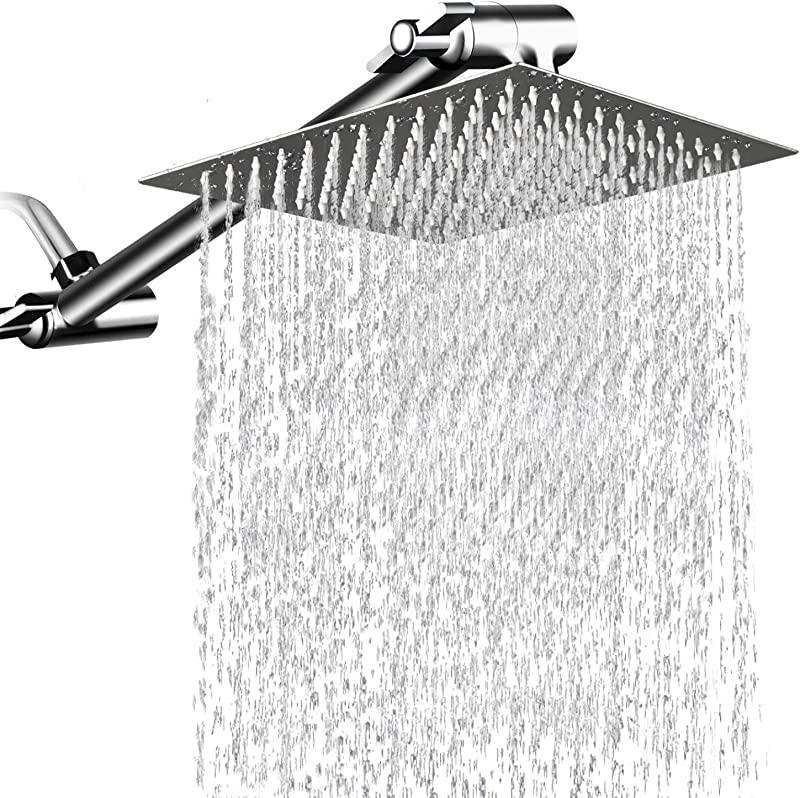 12 Inches Square Rain Showerhead With 11 Inches Adjustable Extension Arm Large Stainless Steel High Pressure Shower Head Ultra Thin Rainfall Bath Shower With Silicone Nozzle Easy To Clean And Install