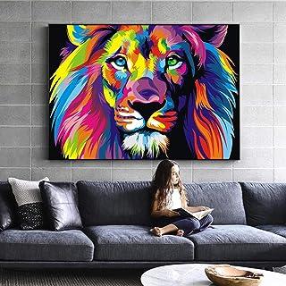 Art Mural Toile Aquarelle Lion Animaux Abstraits Lion Pop Graffiti Art Peintures Sur Le Mur Cuadros Photo Pour BéBé Chambr...