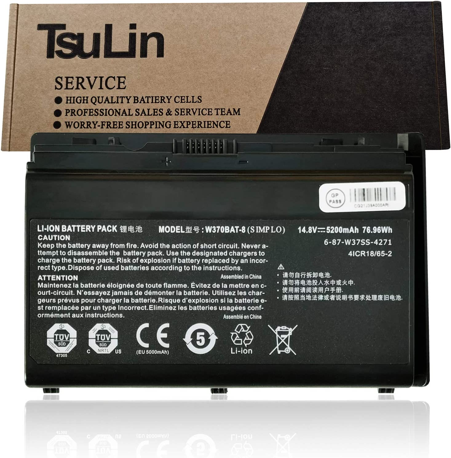TsuLin Max 49% New sales OFF W370BAT-8 Laptop Battery Replacement W35 Clevo W350ET for