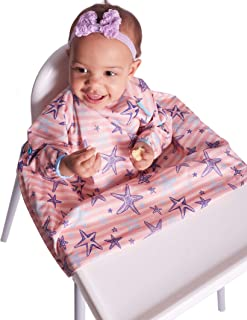 Bibado Wipe Clean Baby & Toddler Weaning Bib Coverall Attaches to Highchair & Table Waterproof