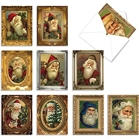 75 Cards with Envelopes Vintage Style Personalized Christmas Postcards with Dog and Cat in Santa/'s Sleigh