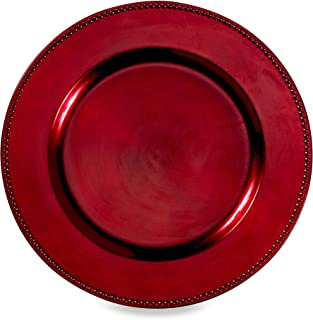 11in Specialty Plates Round Plate Ceramic Steak Dish Western Dish Dish Home Creative Fruit Salad Plate Red Plate Luncheon Plates Color : Red, Size : 28cm