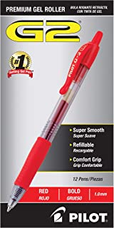 PILOT G2 Premium Refillable & Retractable Rolling Ball Gel Pens, Bold Point, Red Ink, 12 Count (31258)