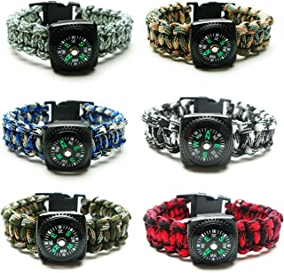 Compass Paracord Bracelet Set for Men Teen Boys 6 Pack - Survival Emergency Tactical Bracelets Braided with 550 lbs Parachute Cord and Mini Compasses - Men's Outdoor Accessories - Camp Party Favors