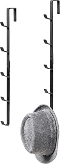 MyGift Black Metal Over-The-Door Coat, Hat & Purse Rack with 5 Hooks, Set of 2