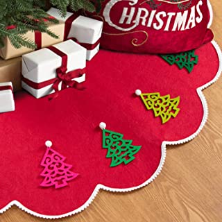 HAUMENLY Felt Christmas Tree Skirt with DIY Small Tree Hanging Ornaments and Pompoms, Lace Edge Xmas Tree Ornaments - 48 Inches