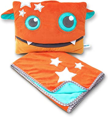 Pillowie - Cute Travel Pillow and Blanket Set - Portable Comfort Item for Children - Rusty