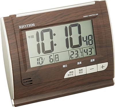 リズム時計 目覚まし時計 電波 デジタル フィットウェーブD165 温度 ・ 湿度 カレンダー 付 茶 (木目仕上げ) RHYTHM 8RZ165SR06