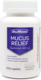 Best ValuMeds Mucus Relief Caplets Guaifenesin 400mg (200 Caplets) | Chest Congestion and Decongestant | Thins and Loosens Buildup | Fast Acting Review
