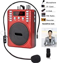 SaleOn™ Rechargeable Portable Multimedia Multifunction Speaker Megaphone with Wired Microphone Loudspeaker Headset for Teacher Guider Trainer and FM radio TF Micro SD Card USB input Earphone Jack Voice Recording (Red) -467