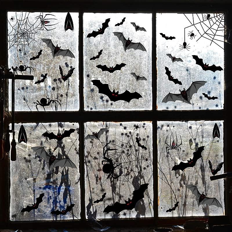 Halloween Bats Sticker Spiders Sticker Electrostatic Glass Window Scary Sticker Decorations Home Room Black