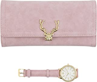Women's Gold Watch with Crystal Bling on The Bezel & Matching Pink Wallet Gift Set