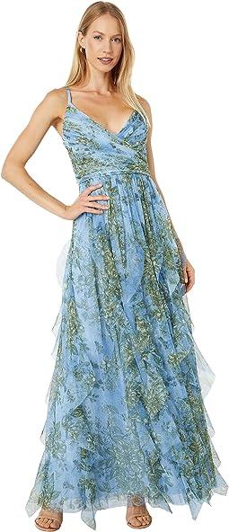 Floral Chiffon Ruffle Gown