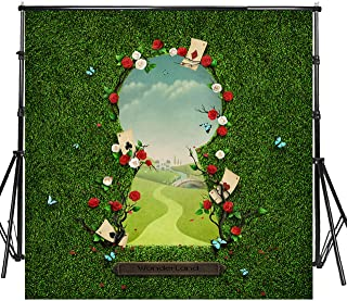 Sensfun 8x8ft Vinyl Wonderland Photo Backdrops for Baby Shower Birthday Newborn Cake Table Banner Fantasy Fairy Tale Green Grass Gate to Wonderland Photography Background Photo Studio Props(SXY1326)