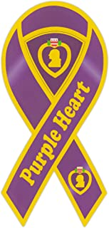 Ribbon Shaped Magnet - Purple Heart Military Ribbon (Medal) - 2 in 1 Magnet (Center Punches Out) - 8