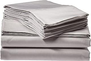 Tribeca Living Egyptian Cotton Sateen 6-Piece 600 Thread Count Deep Pocket Sheet Set, Queen, Silver Grey