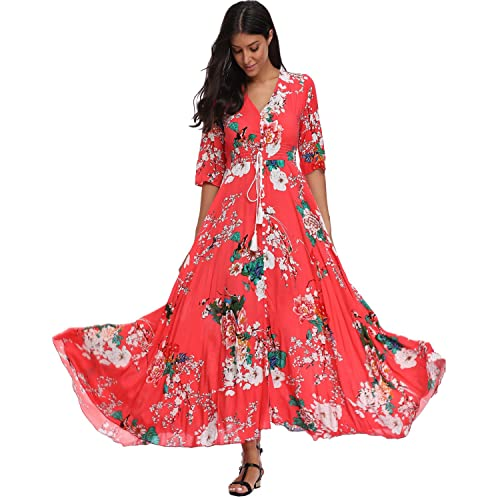 28f7ad758733 Summer Floral Print Maxi Dress Women Button Up Split Long Flowy Bohemian  Beach Party Dresses