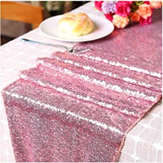 LQIAO Pink Gold Glitzy Sequin Table RUNNER-12x72in Sparking Wedding Table Runners for Party/Birthday/Wedding/Banquet/Chris...