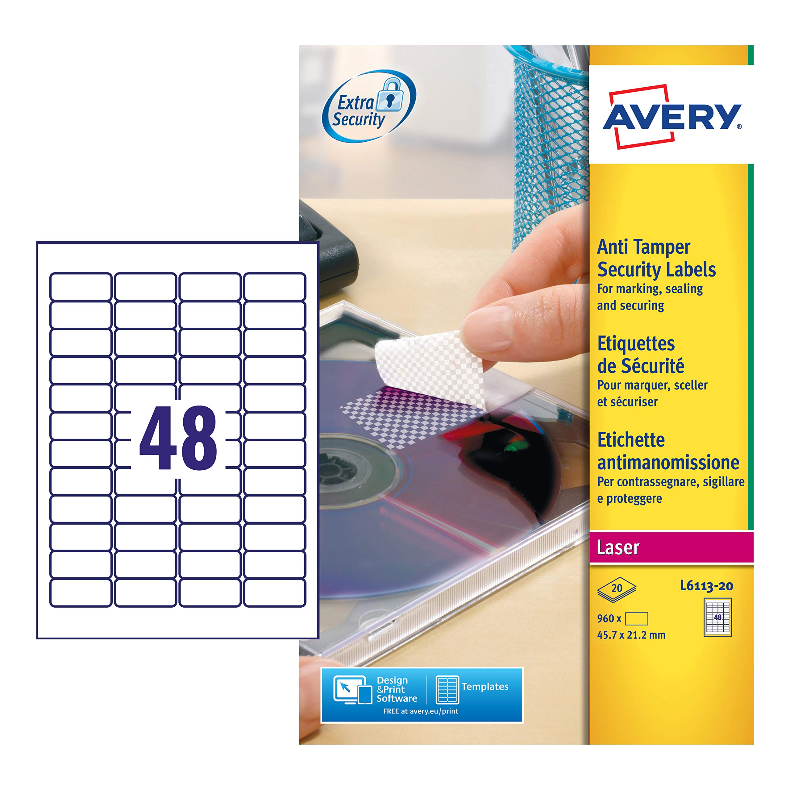 Avery España L6113-20 - Pack de 20 folios de etiquetas anti-manipulación, 45.7 x 21.2 mm, color blanco: Amazon.es: Oficina y papelería