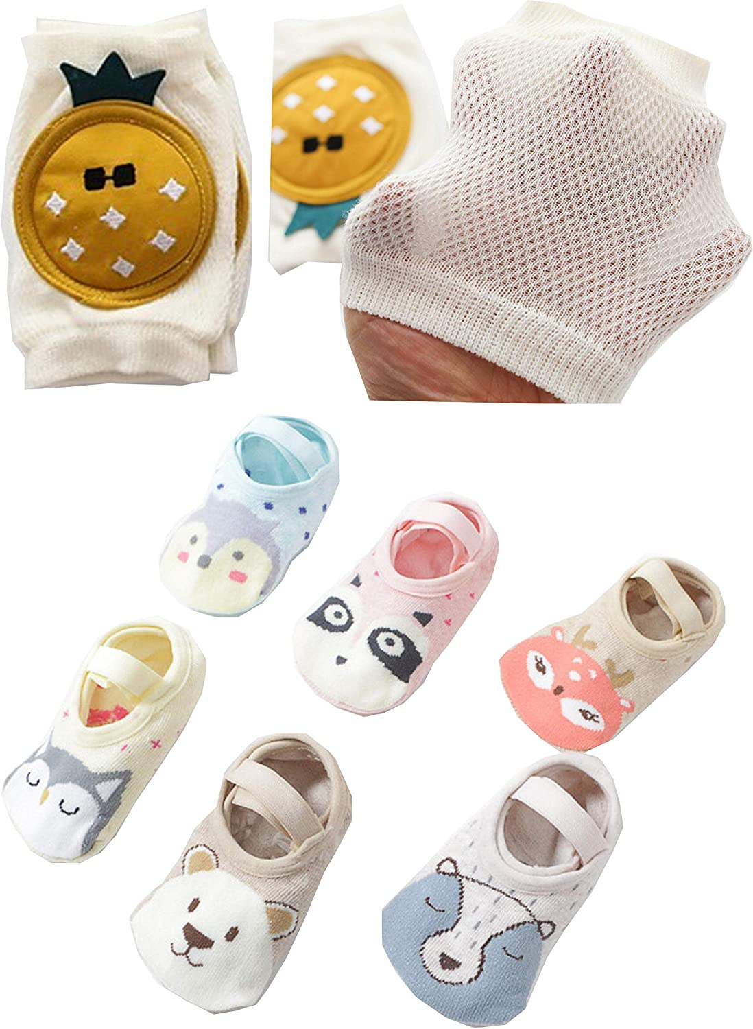 Baby Toddler Kids Set of 6 Pack Anti Slip Non Skid Grip Socks for Ages 8-36 Months Bundled with Protective Knee Pads (Medium, Thick)