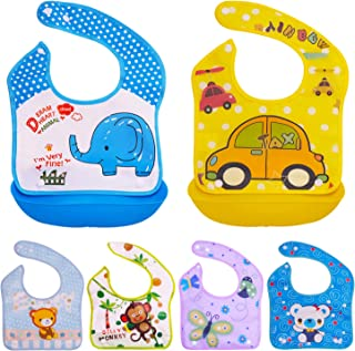 Baby Bibs with Silicone Food Catcher - Set of 6 Bibs and 2 Tray - Waterproof, Reusable and Washable - Drool and Feeding Bi...