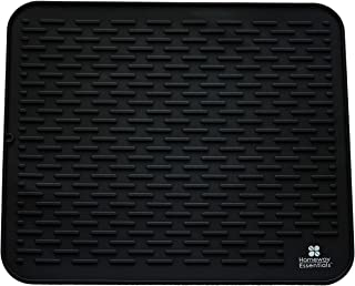 Silicone Dish Drying Mat - 21 x 18 - Extra Large Dish Drying Mat, Counter top Mat, Dish Draining Mat, Sink Mat, Large Silicone Trivet (EXTRA LARGE, BLACK)