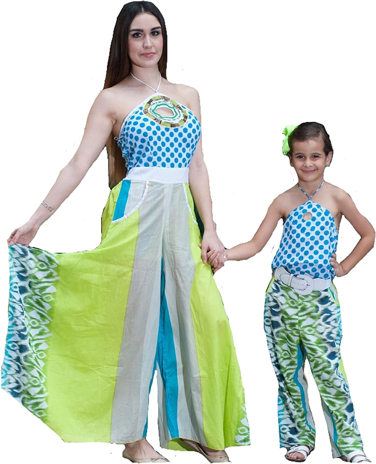 CANDU DESIGNS Jumpsuit Mother & Daughters & Mothers OffShoulders Neck Pants Butterfly Boho Mommy Me