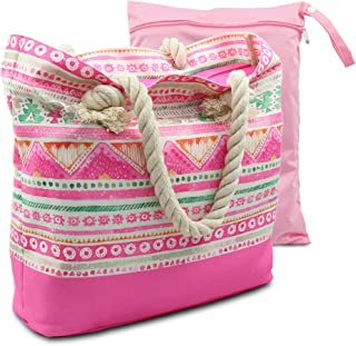 Water Resistant Beach Bag, Boho Canvas Beach Tote with Rope Handles, Top Zipper Closure, 2 Inner Pockets - Bonus Wetbag/Drybag (Pink)