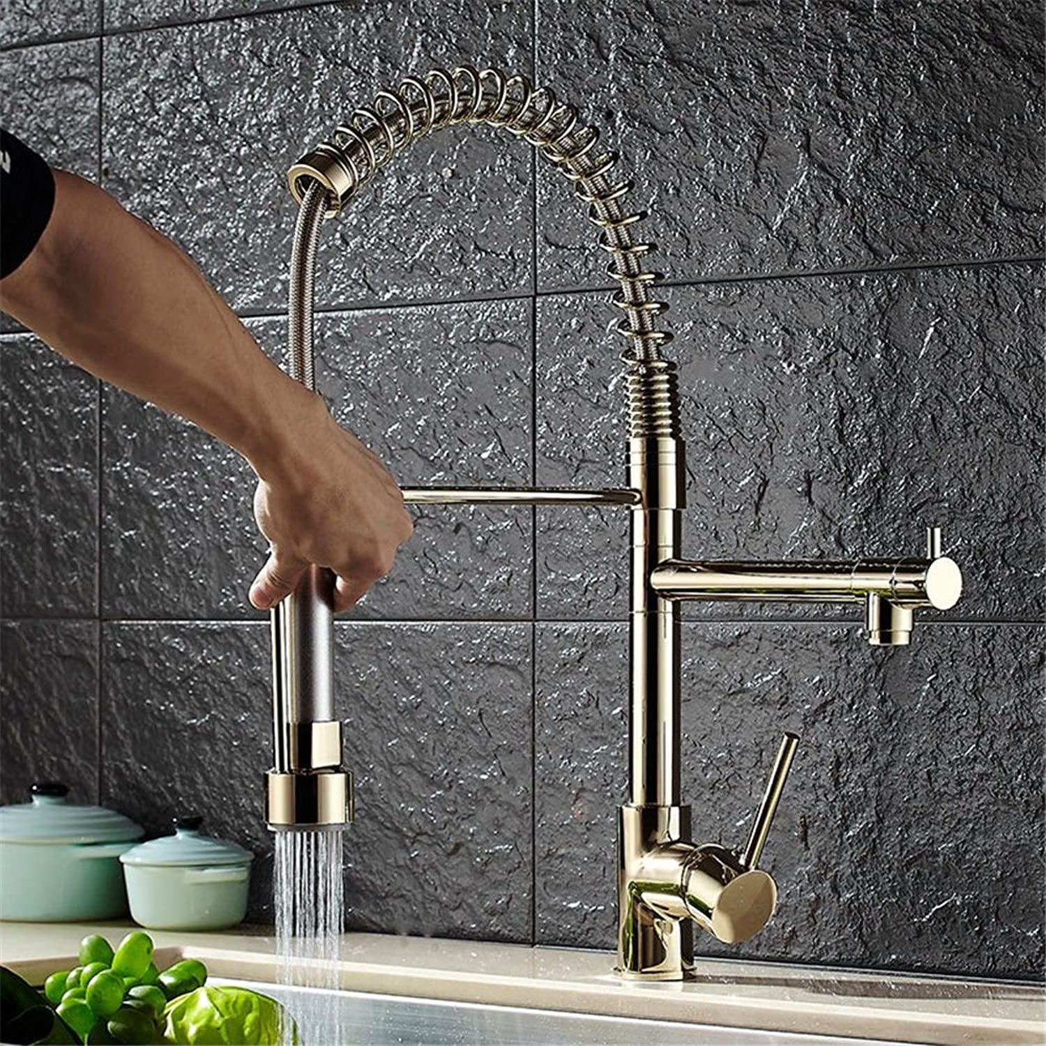 Lalaky Taps Faucet Kitchen Mixer Sink Waterfall Bathroom Mixer Basin Mixer Tap for Kitchen Bathroom and Washroom golden High Pressure Drawing Spring Hot and Cold Water Copper Double Outlet