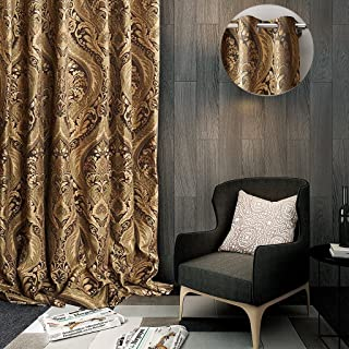 ChadMade Luxury Heavy Weight Rayon Chenille Floral Jacquard 50Wx63L Inch Energy Saving Lined Curtain Panel Drapery Eyelet Antique Bronze Grommet for Bedroom   Living Room   Club   Restaurant   Villa