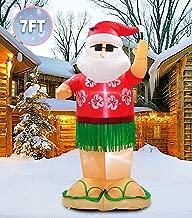 PARAYOYO 7 Ft Christmas Inflatable Santa Claus Decoration Hawaii Inflatable Beach Xmas Santa Decorations for Home Yard Lawn Outdoor Indoor Night