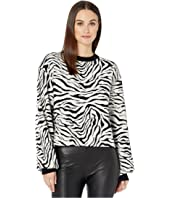 Ribbed, Knit, Crew Neck Pullover in a Zebra Print