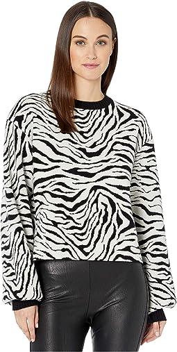 Ribbed, Knit, Crew Neck Pullover in a Zebra Print