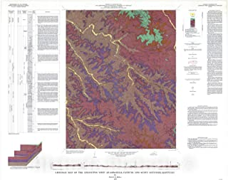 Historic Pictoric Map : Geologic map of The Lexington West Quadrangle, Fayette and Scott Counties, Kentucky, 1967 Cartography Wall Art : 30in x 24in
