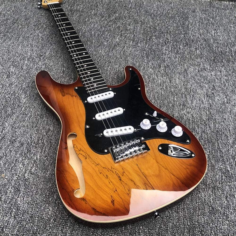 YYYSHOPP Guitarras y Engranajes Guitarra Eléctrica, Guitarra Semi Hueca con Agujero F, Diapasón De Rosa De Acero Acústico Guitarras De Cuerda Guitarras clásicas (Color : Guitar, Size : 41 Inches)