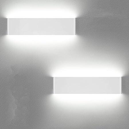 LEDMO Applique Murale Interieur 2 Pack,36cm 12W Applique Murale LED 6000K Blanc Protection des Yeux Simple et Moderne pour Chambre,Salon,Cuisine,Salle à Manger etc