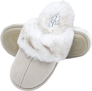 Comfy Faux Fur Womens House Slipper Scuff Memory Foam Slip On Anti-Skid Sole