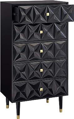 Linon Black Five Drawer Geo Texture Sheerah Chest