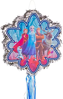 Ya Otta Pinata Frozen 2 Pull String Pinata, Themed Party Supplies and Decoration, Metallic Silver