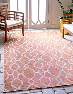 Unique Loom Outdoor Oasis Collection Modern Lattice Transitional Indoor and Outdoor Flatweave Peach Area Rug (5' 0 x 8' 0)