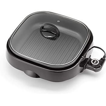 Aroma Housewares ASP-218B Grillet 4Qt. 3-in-1 Cool-Touch Electric Indoor Grill Portable, Dishwasher Safe, with Nonstick Pan & Tempered Glass Lid, Black
