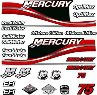 AMR Racing Outboard Engine Motor Sticker Decal Graphics kit for Mercury 75 - Red