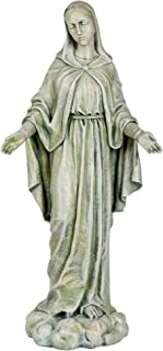 Roman Our Lady of Grace Large 24 Inch Grey Stone Finish Resin Garden Statue