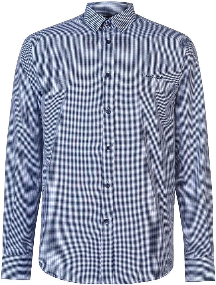 Pierre cardin, camicia manica lunga da uomo, 65% poliestere, 35% cotone, blu marino a quadretti