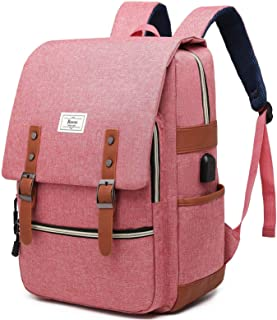 Ronyes Unisex College Bag Fits up to 15.6'' Laptop Vintage Casual Rucksack School Bookbags Backpack Daypacks with USB Char...