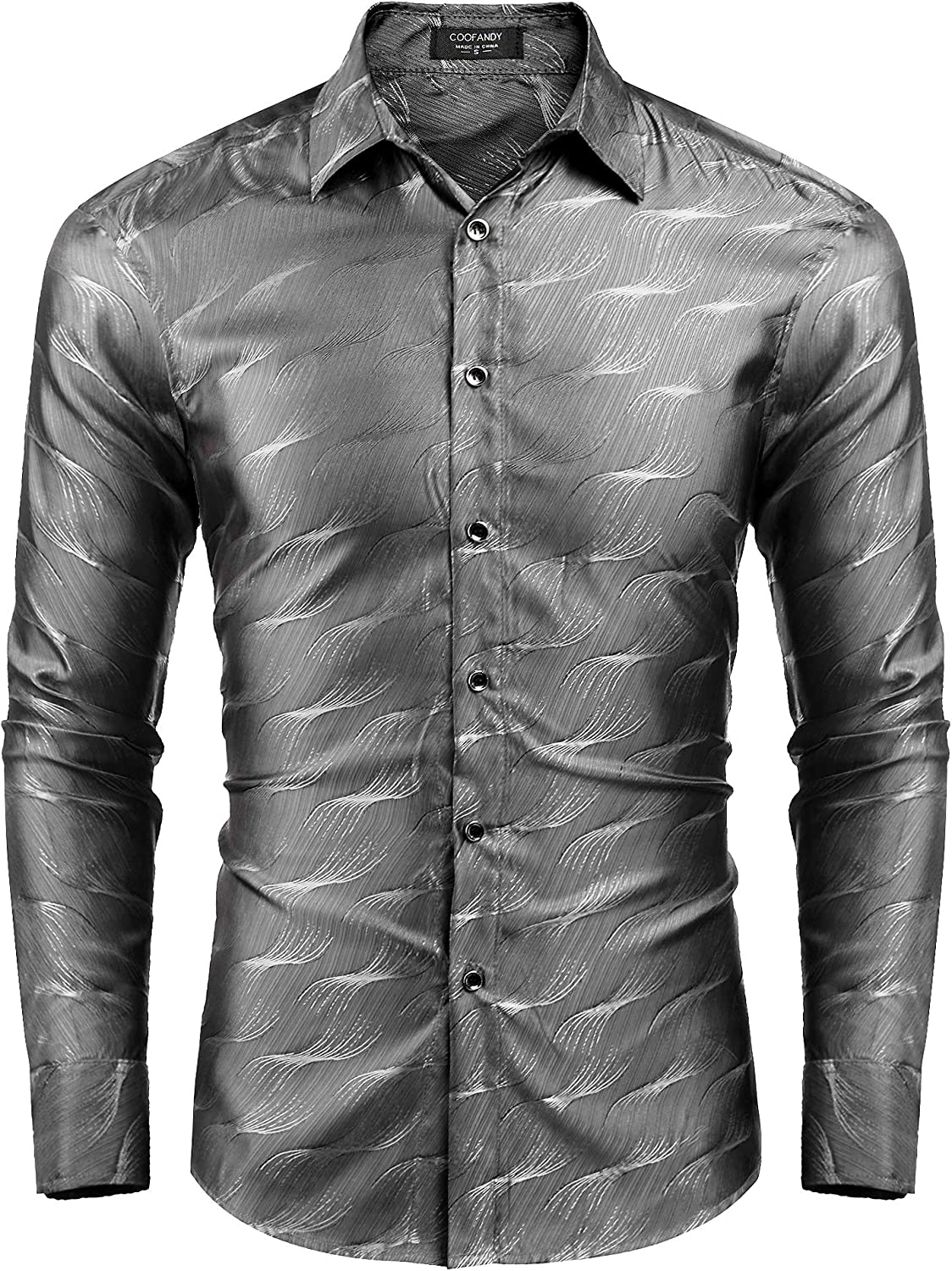 COOFANDY Men's Luxury Dress Shirt Long Sleeve Slim Fit Wrinkle-Free Business Button Down Shirts