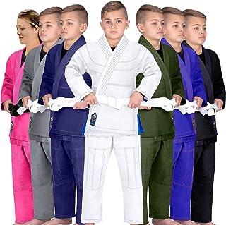 Elite Sports Kids BJJ GI, GIS for Youth Jiu Jitsu IBJJF Children's Lightweight Brazilian Jiujitsu Kimono W/Preshrunk Fabric & Free Belt