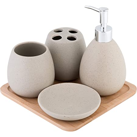 Zeller 18266 Set di Accessori per Bagno 0.1x0.1x0.1 cm 4 unit/à Ceramica Bianco